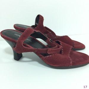 Aerosoles Maroon Suede Ankle Strap Heels 8 1/2 B